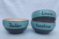 Commande bols gris et bleu avec prénoms
