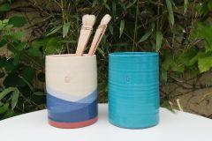 Pots à ustensiles turquoise et bleu