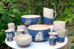 Collection dégradé bleu et thème végétal