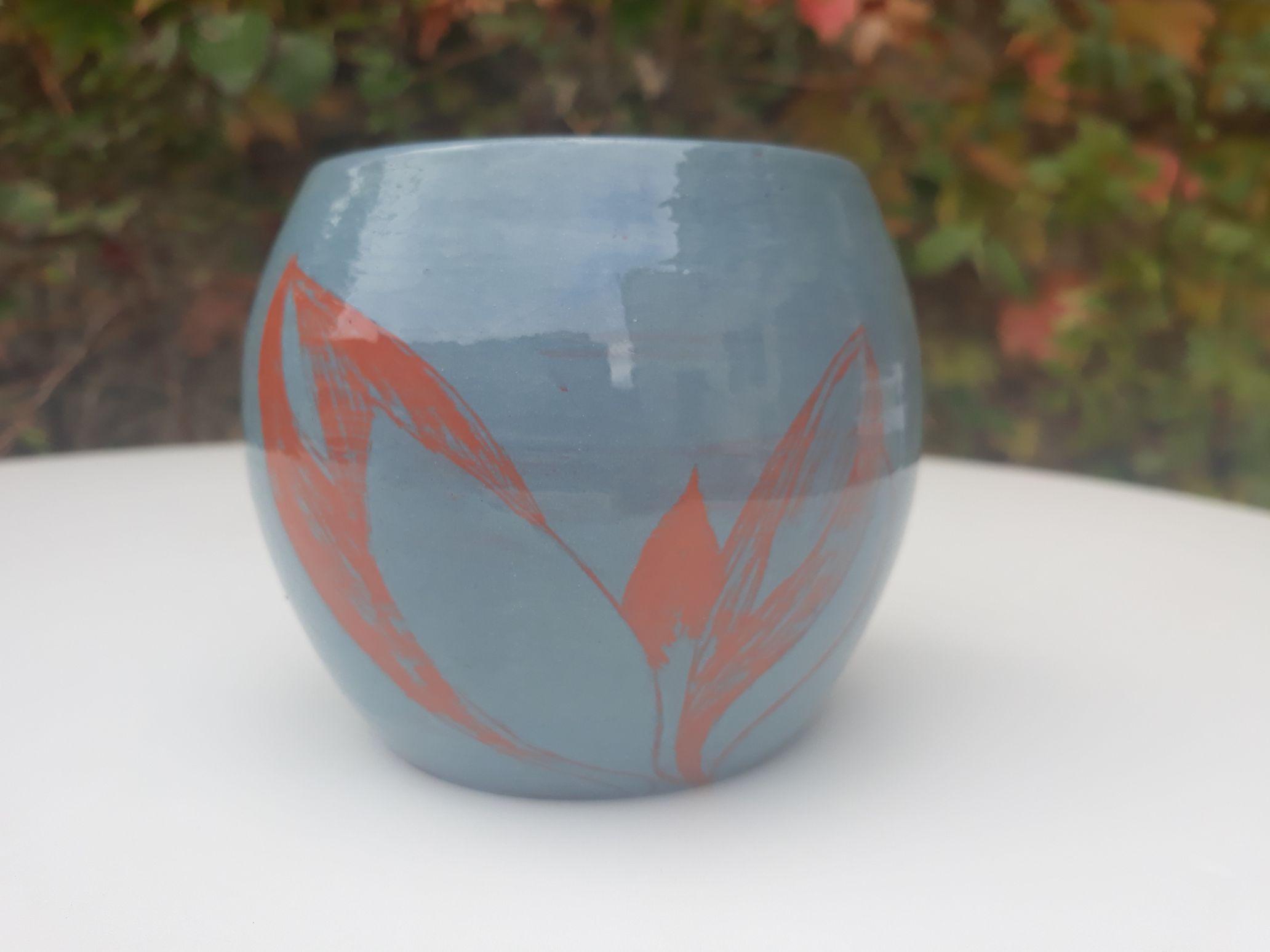 gobelet bleu gravé